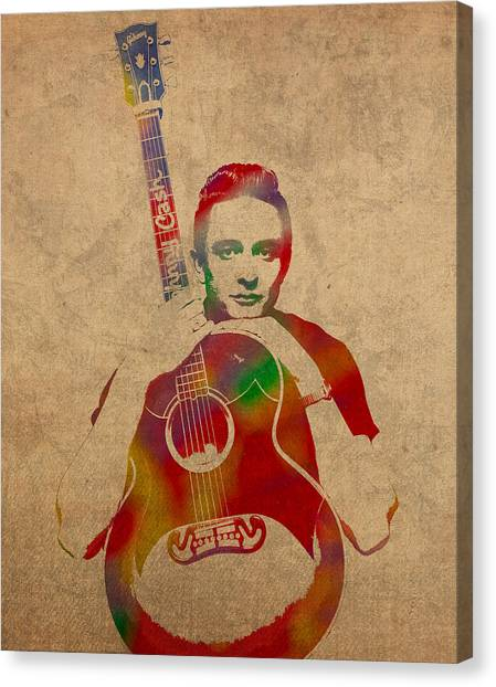 Johnny Cash Canvas Print - Johnny Cash Watercolor Portrait On Worn Distressed Canvas by Design Turnpike