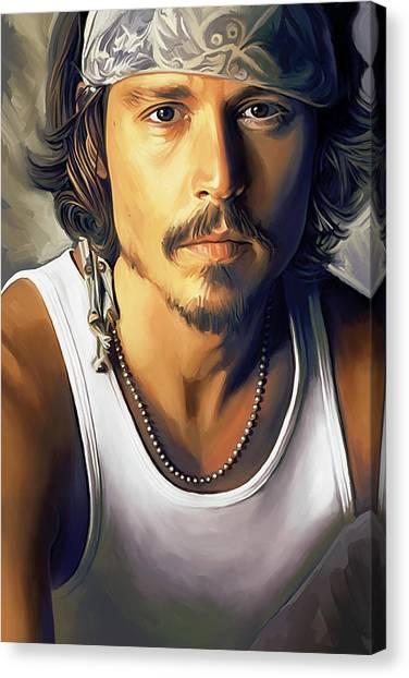Celebrity Canvas Print - Johnny Depp Artwork by Sheraz A