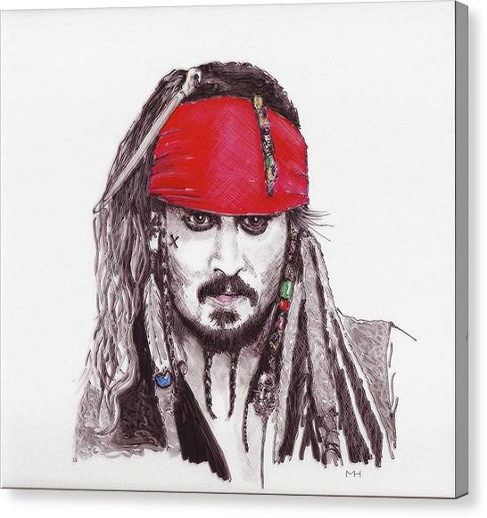 Johnny Depp As Jack Sparrow Canvas Print by Martin Howard