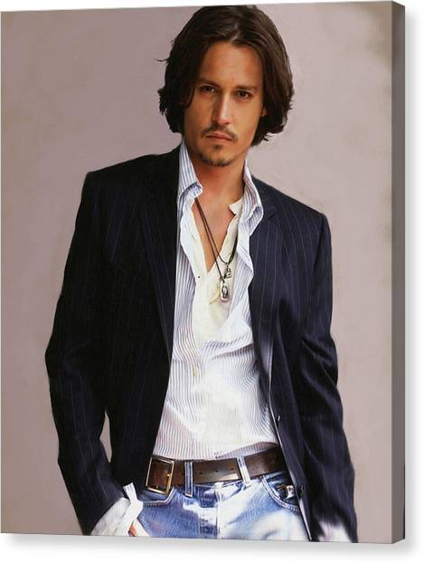 Johnny Depp Canvas Print - Johnny Depp by Dominique Amendola