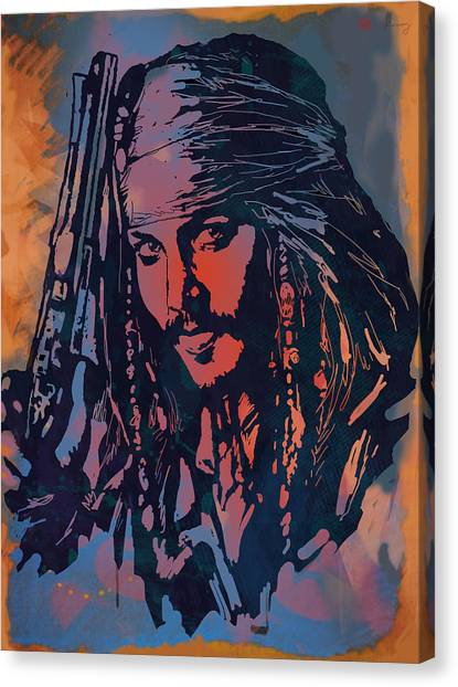 Johnny Depp Canvas Print - Johnny Depp - Stylised Etching Pop Art Poster by Kim Wang