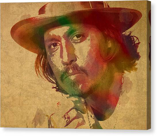 Johnny Depp Canvas Print - Johnny Depp Watercolor Portrait On Worn Distressed Canvas by Design Turnpike