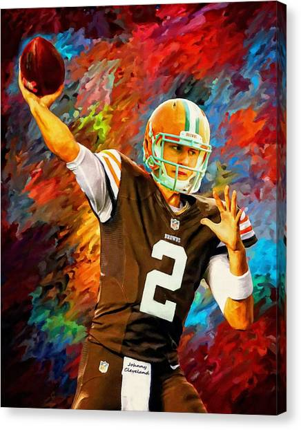 Johnny Manziel Canvas Print - Johnny Manziel Cleveland Browns Football Art Painting by Andres Ramos