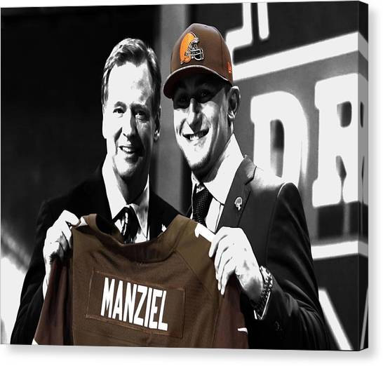 Johnny Manziel Canvas Print - Johnny Manziel Draft Day by Brian Reaves