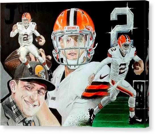 Johnny Manziel Canvas Print - Johnny Pro Football by Ezra Strayer