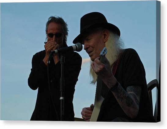 Slide Guitars Canvas Print - Johnny Winter And James Montgomery Playing The Blues by Mike Martin
