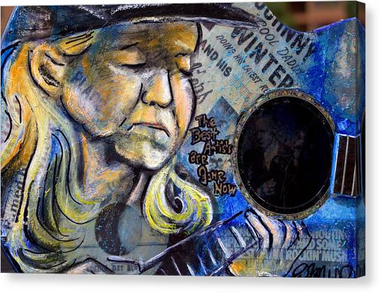 Johnny Winter Painted Guitar Canvas Print