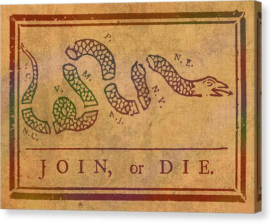 Join Canvas Print - Join Or Die Benjamin Franklin Political Cartoon Pennsylvania Gazette Commentary 1754 On Parchment  by Design Turnpike