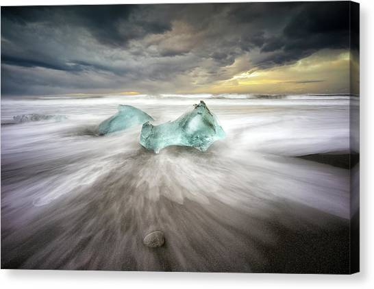 Diamonds Canvas Print - Jokulsarlon Beach by Keller