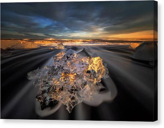 Diamonds Canvas Print - Jokulsarlon Diamond by Wojciech Kruczynski