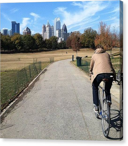 Autumn Leaves Canvas Print - Biking Atlanta by John Michael McCasland