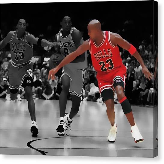 La Lakers Canvas Print - Jordan And Pippen Give Me That by Brian Reaves