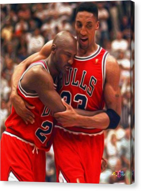 Dwayne Wade Canvas Print - Jordan And Pippen by Paint Splat