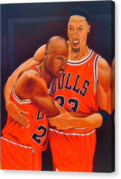 Utah Jazz Canvas Print - Jordan And Pippen by Yechiel Abramov
