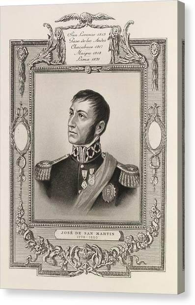 American Independance Canvas Print - Jose De San Martin by British Library