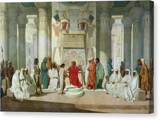Old Testament Canvas Print - Joseph Explaining Pharaohs Dreams Oil On Canvas by Jean Adrien Guignet