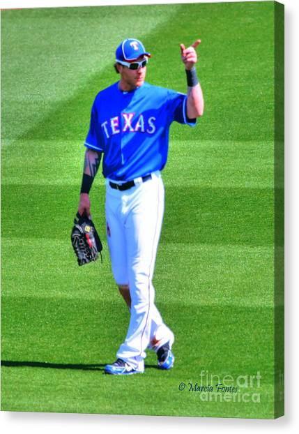 Josh Hamilton Canvas Print - Josh Hamilton 32 Texas Rangers by Tap On Photo