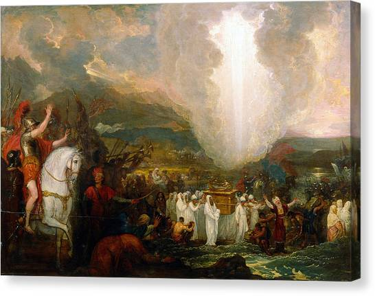 River Jordan Canvas Print - Joshua Passing The River Jordan With The Ark Of The Covenant by Benjamin West