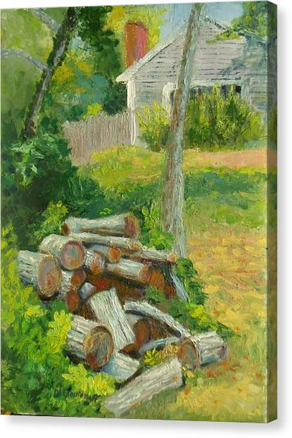 Joshua's Way Woodpile  Canvas Print