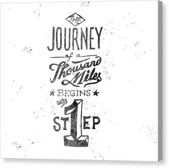 Word Art Canvas Print - Journey Of Thousand Miles by Ridza MH
