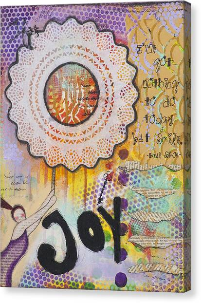 Joy And Smile Cheerful Inspirational Art Canvas Print by Stanka Vukelic