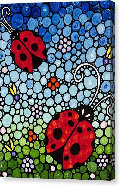 Ladybugs Canvas Print - Joyous Ladies Ladybugs by Sharon Cummings