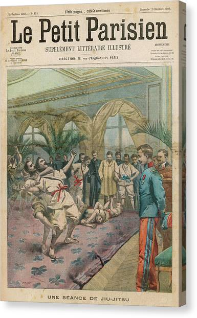 Jujitsu Canvas Print - Ju-jitsu Is Taught To The  French Police by Mary Evans Picture Library