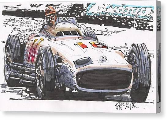 Juan Fangio Mercedes Benz German Grand Prix Canvas Print by Paul Guyer