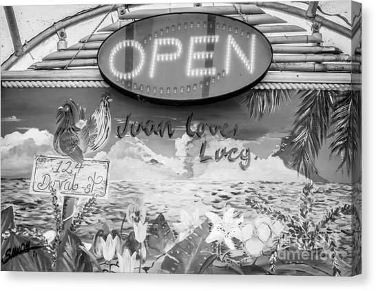 Artifact canvas print juan loves lucy key west black and white by ian monk