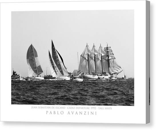 Juan Sebastian Elcano Departing The Port Of Cadiz Canvas Print