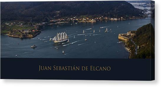 Juan Sebastian Elcano Departing The Port Of Ferrol Canvas Print