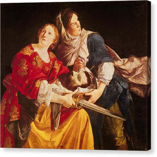 Old Testament Canvas Print - Judith With The Head Of Holofernes Oil On Canvas by Orazio Gentileschi