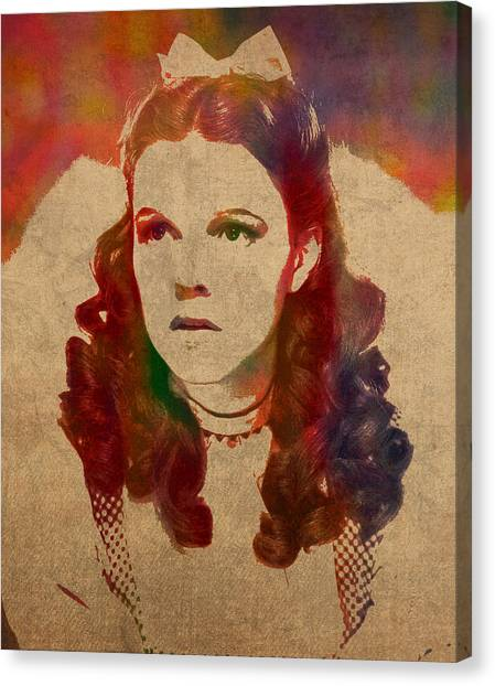 Judy Garland Canvas Print - Judy Garland As Dorothy Gale In Wizard Of Oz Watercolor Portrait On Worn Distressed Canvas by Design Turnpike
