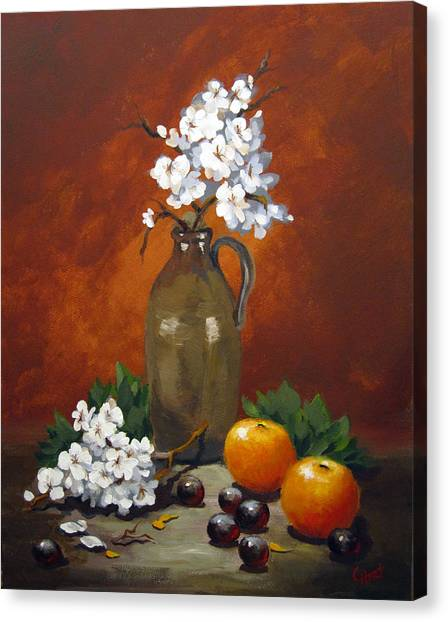 Jug And Blossoms Canvas Print
