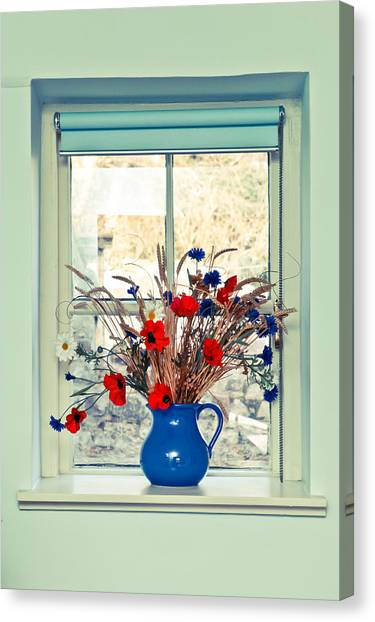 Window Canvas Print - Jug Of Flowers by Tom Gowanlock