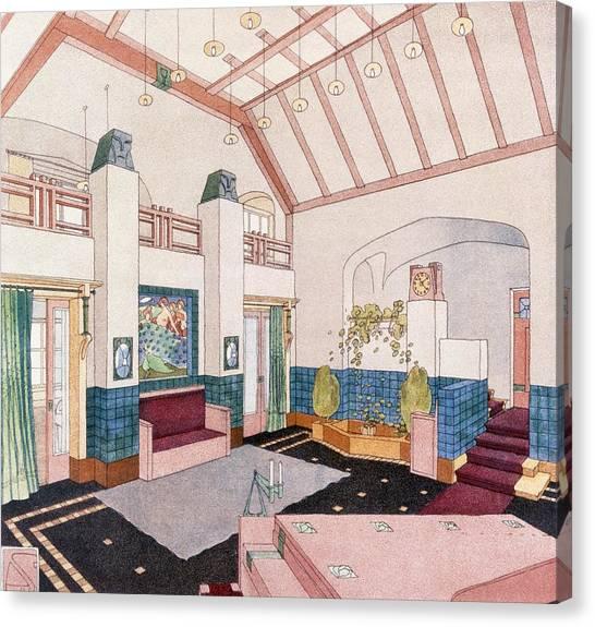 Tile Canvas Print - Jugendstil Or Early Modernist Style by German School
