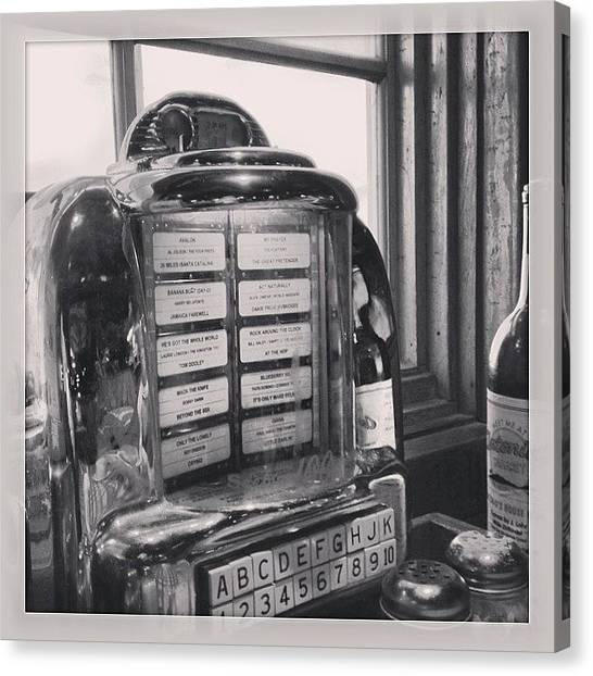 Jukebox Canvas Print - #jukebox #seeburg #wallomatic #mv_bw by Mike Valentine