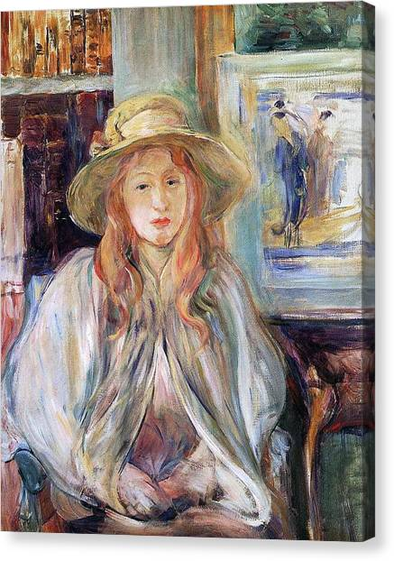 Half-length Canvas Print - Julie Manet With A Straw Hat by Berthe Morisot