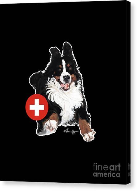Bernese Mountain Dogs Canvas Print - Jumpin' Jack Flash Dark by Liane Weyers