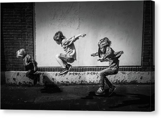 Energy Canvas Print - Jumping Over The Shadows by Gunther Gehlich