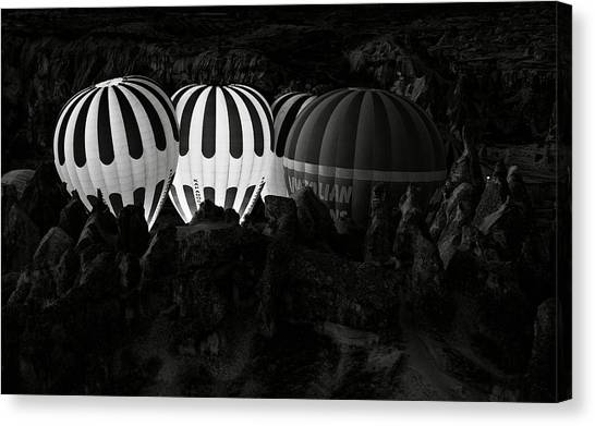 Hot Air Balloons Canvas Print - Jumping The Gun by Mike Kreiten