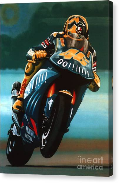 Yamaha Canvas Print - Jumping Valentino Rossi  by Paul Meijering