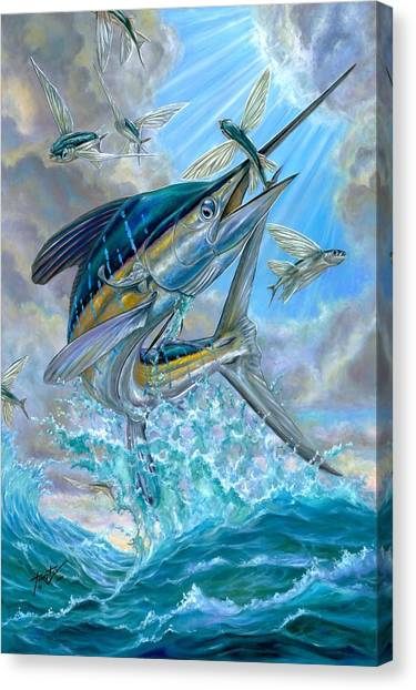 Jumping White Marlin And Flying Fish Canvas Print