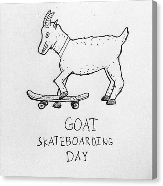 Goats Canvas Print - June 21st: Goat Skateboarding Day by Scott Ahler