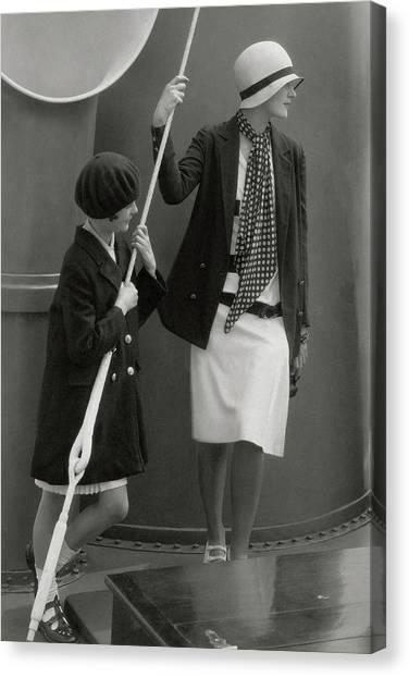 Flannel Canvas Print - June Cox And Elizabeth Miller by Edward Steichen
