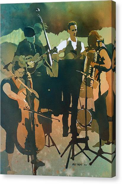 Stringed Instruments Canvas Print - June Tune by Kris Parins