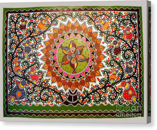 Jungle Life-madhubani Paintings Canvas Print
