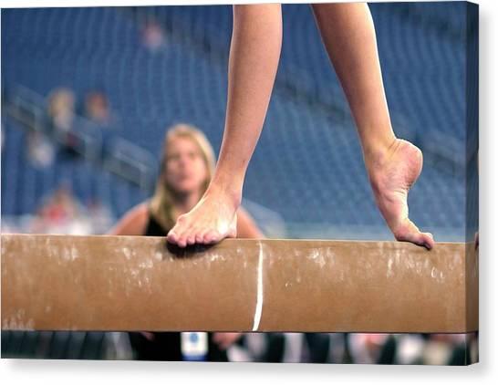 Balance Beam Canvas Print - Junior Olympics by Jim West