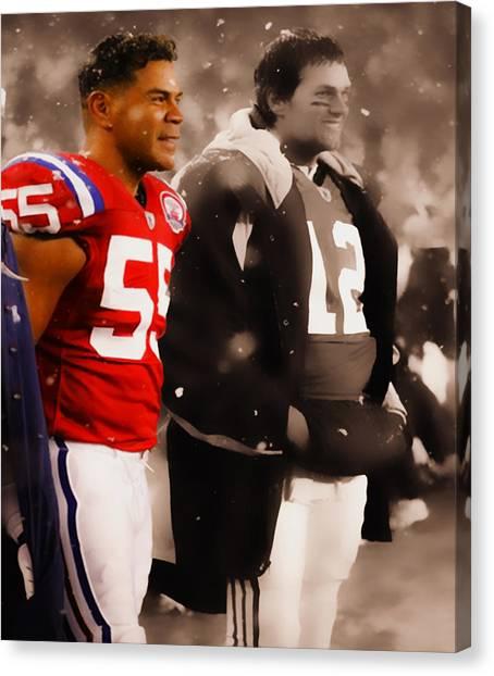 Joe Montana Canvas Print - Junior Seau And Tom Brady by Brian Reaves