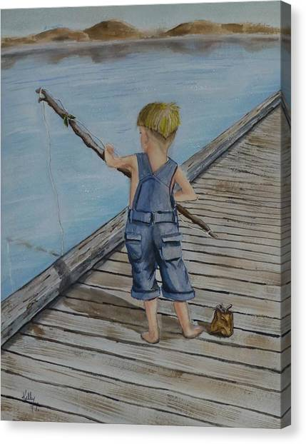 Juniors Amazing Fishing Pole Canvas Print